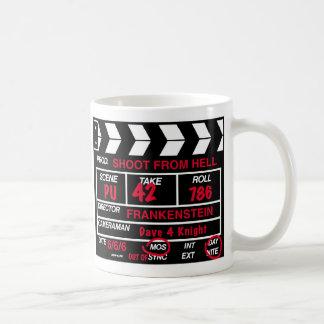 Pizarra de la cámara cinematográfica taza