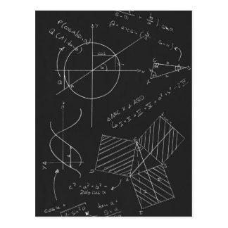 Pizarra de la matemáticas tarjetas postales