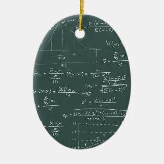 Pizarra de las estadísticas adorno navideño ovalado de cerámica