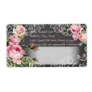 Pizarra de PixDezines+rosas del vintage Etiquetas De Envío