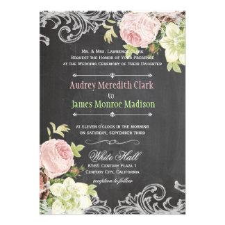 Pizarra de PixDezines/rosas rococóes/del vintage Invitación Personalizada