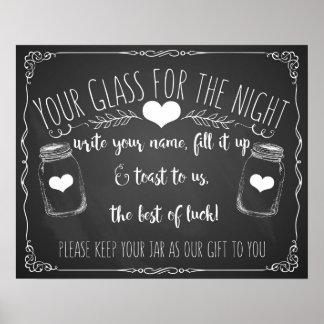 Pizarra del boda de la muestra de la barra del póster