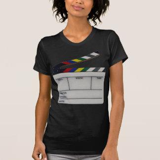 Pizarra del cineasta de la película de la tablilla camisetas