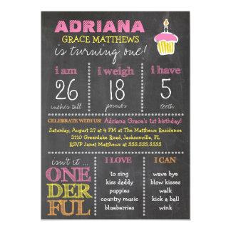 """Pizarra del cumpleaños de Onederful de la Invitación 5"""" X 7"""""""