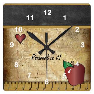 Pizarra del estilo del vintage del profesor reloj cuadrado