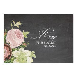 Pizarra del rsvp de PixDezines+rosas del vintage Comunicado