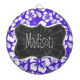 Pizarra del vintage; Hibisco tropical violeta azul