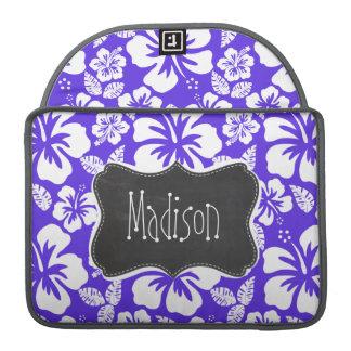 Pizarra del vintage; Hibisco tropical violeta azul Funda Para Macbook Pro