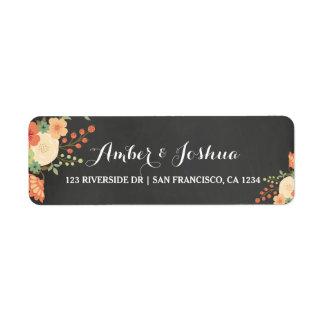 Pizarra del vintage y etiqueta floral del remite etiqueta de remite