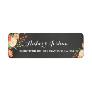 Pizarra del vintage y etiqueta floral del remite etiquetas de remite