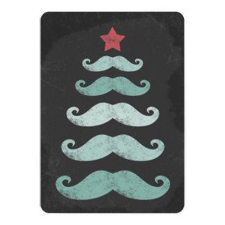 """Pizarra divertida del árbol de navidad del bigote invitación 5"""" x 7"""""""