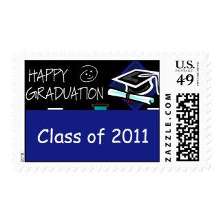 Pizarra feliz de la graduación timbre postal