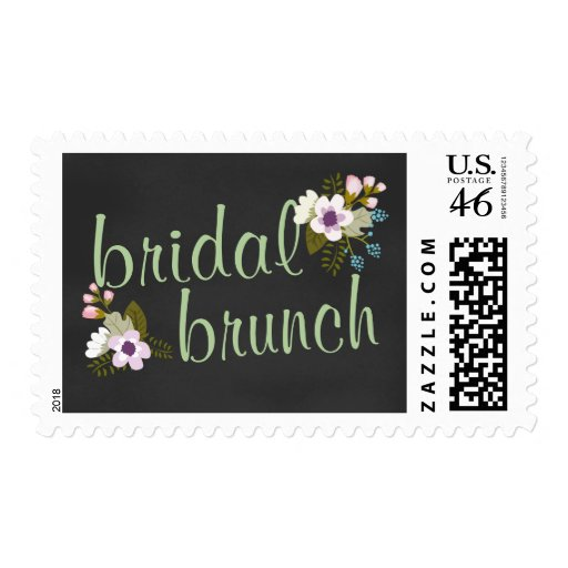 Pizarra floral del brunch nupcial de la ducha sello