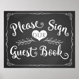 """Pizarra """"libro de visitas """" de la muestra del boda póster"""
