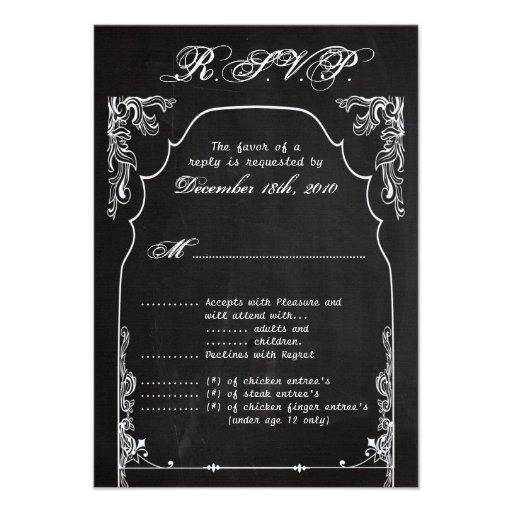 pizarra moderna de la tarjeta de 3.5x5 R.S.V.P. Invitacion Personal