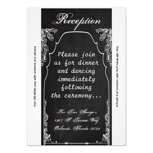"""pizarra moderna de la tarjeta de la recepción invitación 5"""" x 7"""""""