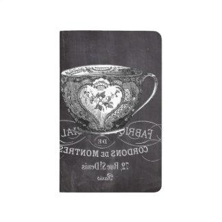 pizarra moderna del francés de la taza de té del cuadernos grapados
