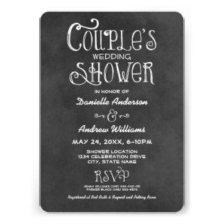 Pizarra negra de la ducha el del boda del par invitacion personal