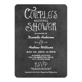 Pizarra negra de la ducha el | del boda del par invitacion personal