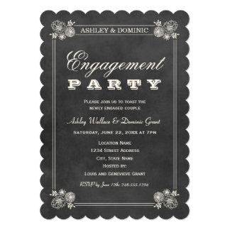Pizarra negra de las invitaciones el | del fiesta comunicado