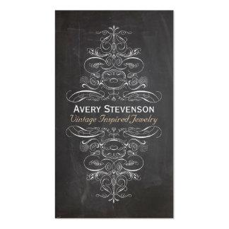 Pizarra negra rústica del vintage elegante fresco tarjetas de visita