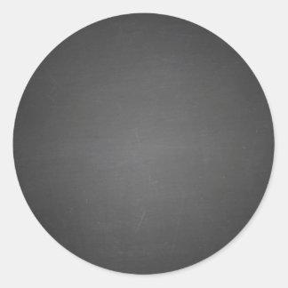 Pizarra negra rústica impresa pegatina redonda
