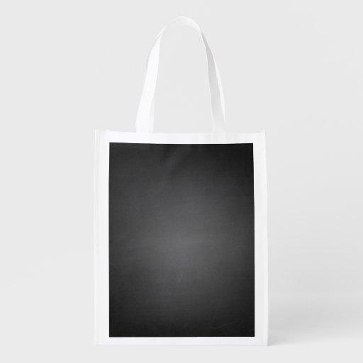 Pizarra negra rústica impresa bolsas reutilizables