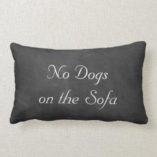 Pizarra ningunos perros en el sofá cojín