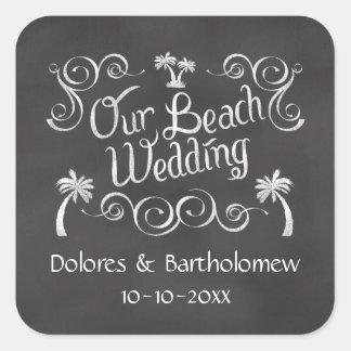 Pizarra nuestro boda de playa pegatina cuadrada