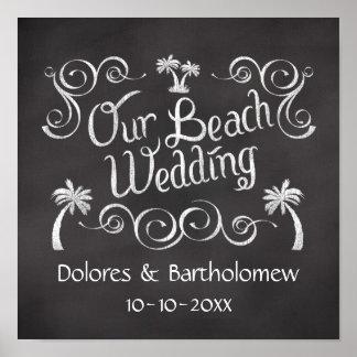 Pizarra nuestro poster de la muestra del boda de p