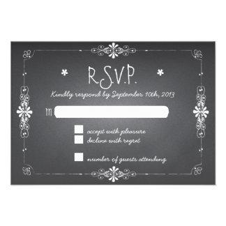 Pizarra que casa la tarjeta de la respuesta de RSV Invitacion Personal