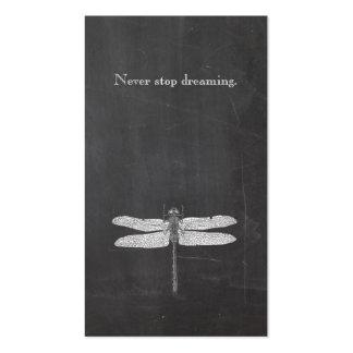 Pizarra rústica de la naturaleza de la libélula tarjetas de visita