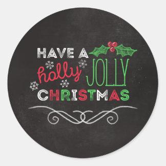 Pizarra rústica del navidad alegre del acebo pegatina redonda