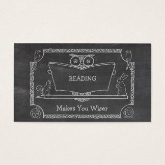 Pizarra sabia de la lectura del búho del vintage tarjetas de visita