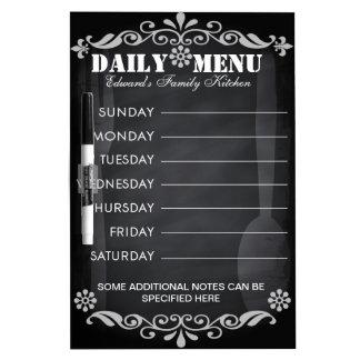 Pizarra semanal del menú para la cocina