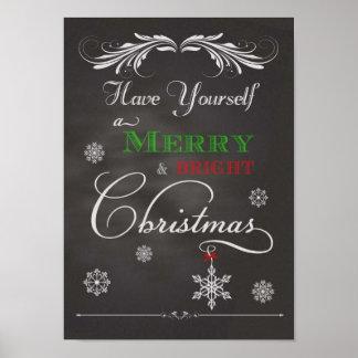 Pizarra-Tenga usted mismo un Christma feliz y bril Posters