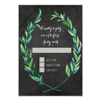 """Pizarra verde oliva de la rama de la hoja de la invitación 3.5"""" x 5"""""""