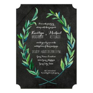 """Pizarra verde oliva de la rama de la hoja de la invitación 5"""" x 7"""""""
