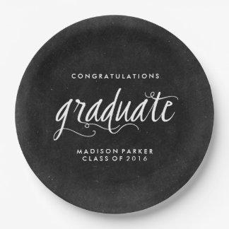 Pizarra y graduación de moda de la caligrafía platos de papel