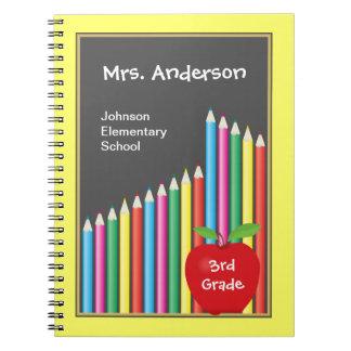 Pizarra y profesor coloreado de los lápices libros de apuntes con espiral