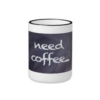 Pizarra y tiza: Taza de café de la necesidad