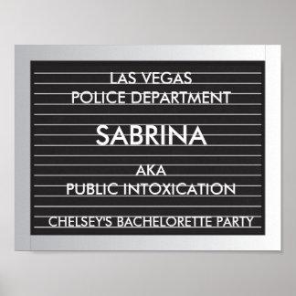 Pizarras de la fotografía de detenido del fiesta póster