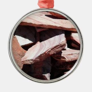 Pizarras de la piedra arenisca adorno redondo plateado