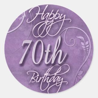 Pizazz púrpura para el 70.o cumpleaños pegatina redonda