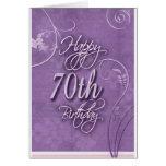 Pizazz púrpura para el 70.o cumpleaños tarjeta
