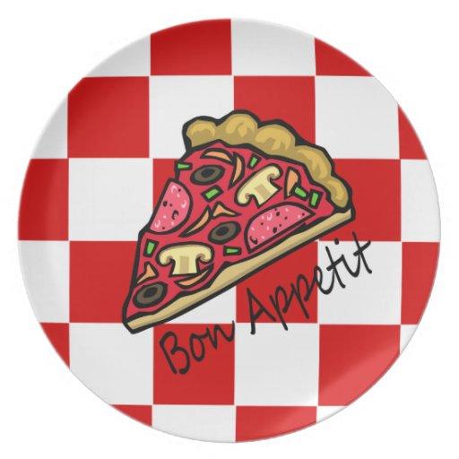 Pizza a cuadros italiana del mantel de Appetit del Platos De Comidas
