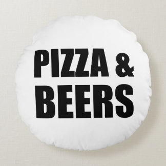 Pizza And Beers Round Pillow