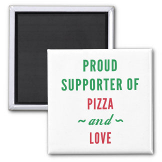 Pizza And Love 2 Inch Square Magnet
