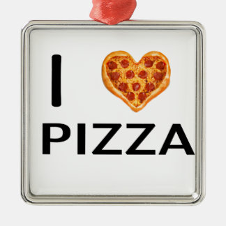Pizza and love metal ornament