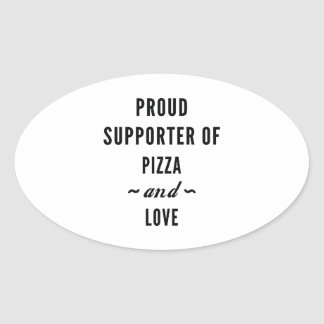 Pizza And Love Oval Sticker